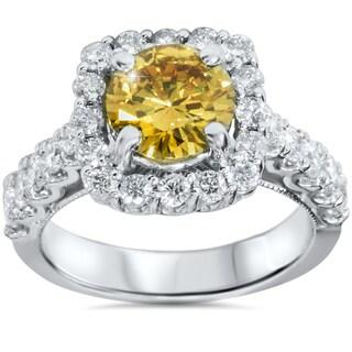 14k White Gold 2 5/8ct TDW Yellow and White Diamond Ring (G-H, SI1-SI2)