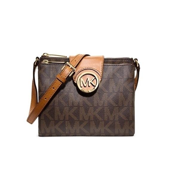 c1e2e11373 Shop Michael Kors Fulton Large Brown Signature Crossbody Handbag ...