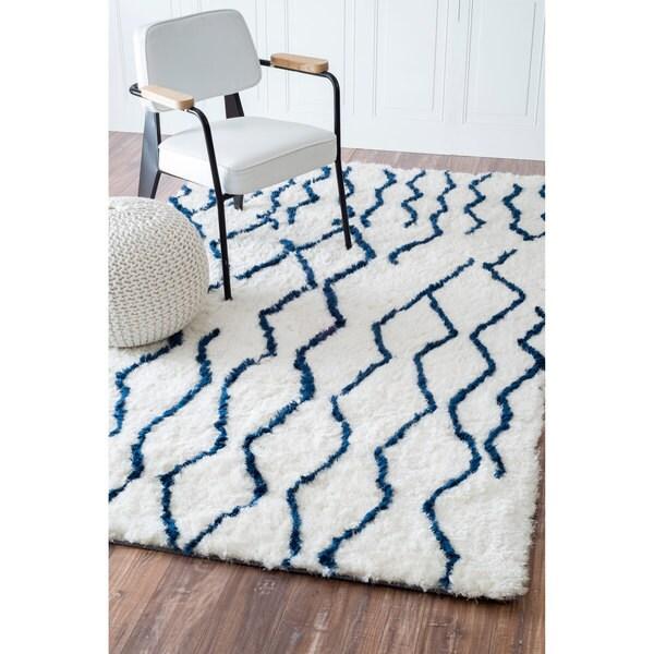 Shop NuLOOM Soft And Plush Moroccan Trellis Blue Shag Rug
