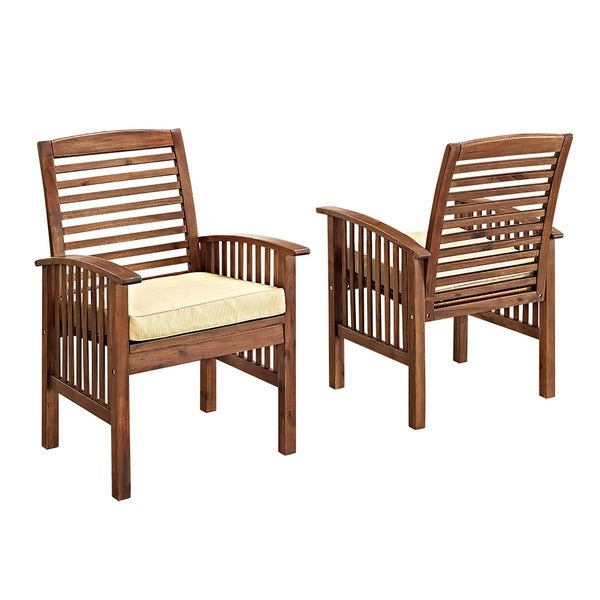 Dark Brown Acacia Wood Chairs (Set Of 2)   Free Shipping Today    Overstock.com   17106986