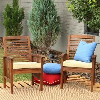Dark Brown Acacia Wood Chairs (Set of 2)
