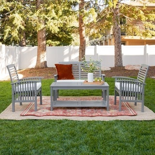 4 Piece Acacia Wood Patio Conversation Set