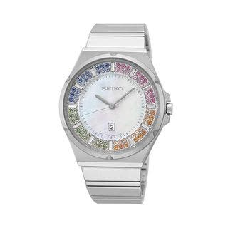 Seiko Women's SXDG55 Stainless Steel with a Austrian Crystal Dial Watch|https://ak1.ostkcdn.com/images/products/9952989/P17106990.jpg?impolicy=medium