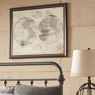 World Map Double Framed Giclee Print Wall Art