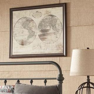 World Map Double Framed Giclee Print Wall Art