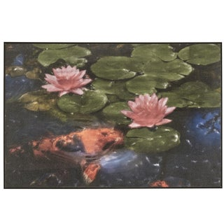 'Koi Pond' Wrapped Giclee Canvas Framed Wall Art