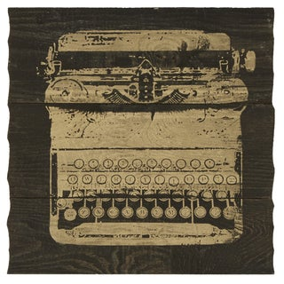 Gold Typewriter Silk Screen on Wood Wall Art