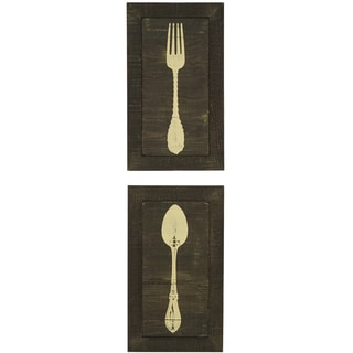 Shabby Spoon and Fork Silk Screen on Wood Wall Art (Set of 2)