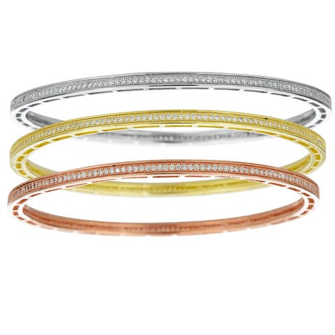 Decadence Rhodium, 18k Rose, 18k Yellow Gold-plated Sterling Silver Cubic Zirconia Bangles