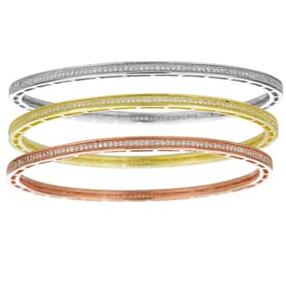 Decadence Rhodium, 18k Rose, 18k Yellow Gold-plated Sterling Silver Cubic Zirconia Bangles|https://ak1.ostkcdn.com/images/products/9953046/P17107003.jpg?impolicy=medium
