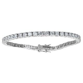 Decadence Sterling Silver Round Cubic Zirconia Tennis Bracelet