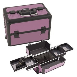 Sunrise Purple Diamond Pattern Aluminum Makeup Case
