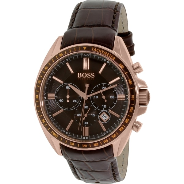 032bae64d Shop Hugo Boss Men's 1513093 'Driver' Chronograph Brown Leather Watch -  Free Shipping Today - Overstock - 9953097