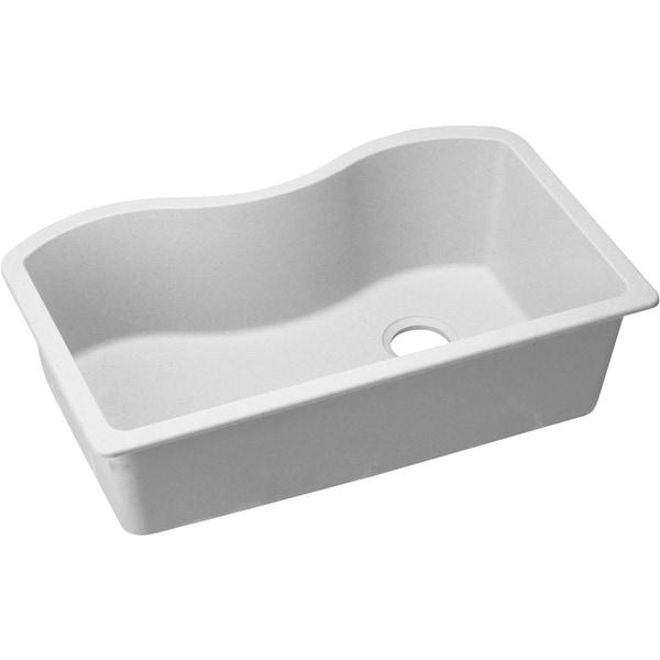 "Elkay Quartz Classic 33"" x 20"" x 9-1/2"", Single Bowl Undermount Sink, White"