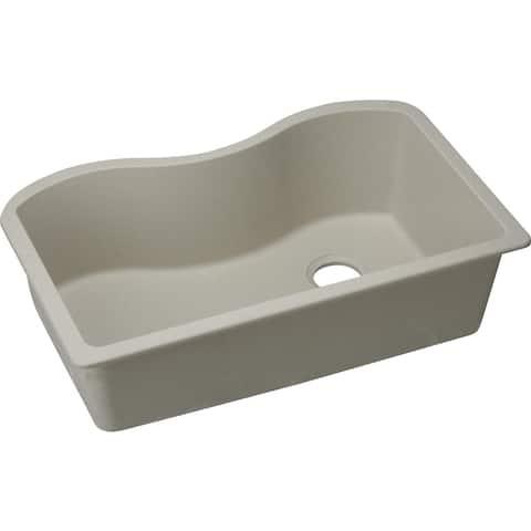 "Elkay Quartz Classic 33"" x 20"" x 9-1/2"", Single Bowl Undermount Sink, Bisque"
