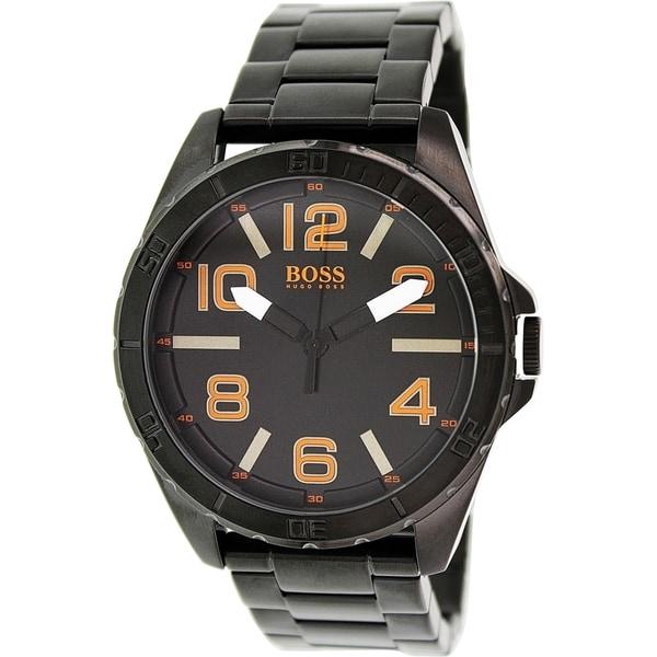 f334bd54d Shop Hugo Boss Men's 1513001 'Berlin' Black Stainless Steel Watch - N/A -  Free Shipping Today - Overstock - 9953131