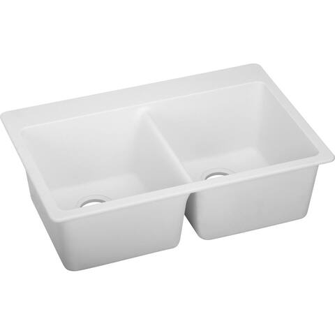 "Elkay Quartz Classic 33"" x 22"" x 9-1/2"", Equal Double Bowl Top Mount Sink, White"