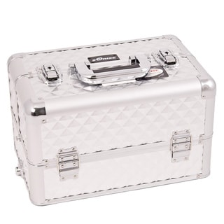 Sunrise Silver Diamond Pattern Aluminum Makeup Case