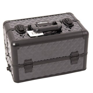 Sunrise All Black Diamond Pattern Aluminum Makeup Case