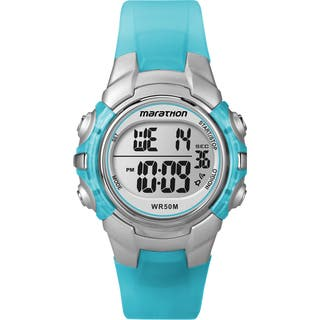 Timex T5K817M6 Unisex Marathon Digital Mid-size Light Blue/ Silvertone Watch|https://ak1.ostkcdn.com/images/products/9953244/P17107176.jpg?impolicy=medium
