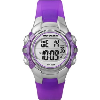 Timex T5K816M6 Unisex Marathon Digital Mid-size Purple/ Silvertone Watch