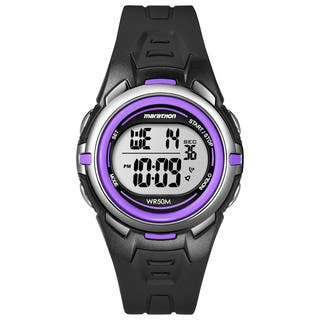 Timex T5K364M6 Women's Marathon Digital Mid-size Blue/ Silvertone/ Purple Watch|https://ak1.ostkcdn.com/images/products/9953249/P17107180.jpg?impolicy=medium