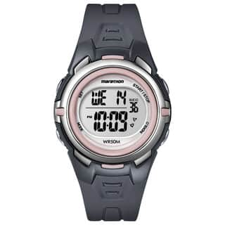 Timex T5K360M6 Women's Marathon Digital Mid-size Dark Grey/ Pink Watch|https://ak1.ostkcdn.com/images/products/9953250/P17107181.jpg?impolicy=medium