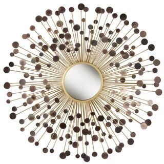 Brown Orbits in Sunburst Metal Wall Mirror