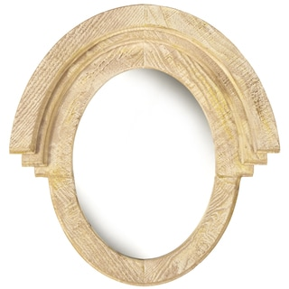 Western Style Oval Natural Honey Wood Wall Mirror