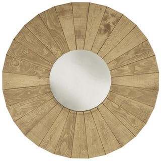 Round Dish Natural Honey Wall Mirror