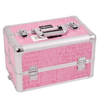 Sunrise Pink Crocodile Aluminum Makeup Case