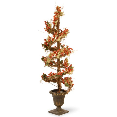 48-inch Berry/ Leaf Vine Topiary Tree Black Urn