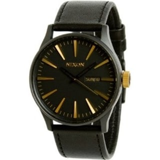 Nixon Men's A1051041 Black Leather Quartz Watch