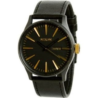 Nixon Men's A1051041 Black Leather Quartz Watch|https://ak1.ostkcdn.com/images/products/9953333/P17107244.jpg?impolicy=medium