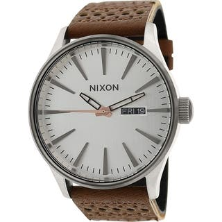Nixon Men's Sentry A1051752 Brown Leather Quartz Watch|https://ak1.ostkcdn.com/images/products/9953351/P17107260.jpg?impolicy=medium