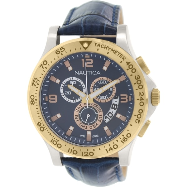 e512ac981d8 Shop Nautica Men s NAD19502G  NST  Chronograph Blue Leather Watch - N A -  Free Shipping Today - Overstock - 9953386
