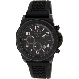Bulova Men's 98B223 Marine Star Chrono Black Rubber Strap Watch