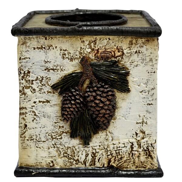 HiEnd Accents Birch Pinecone Tissue Box