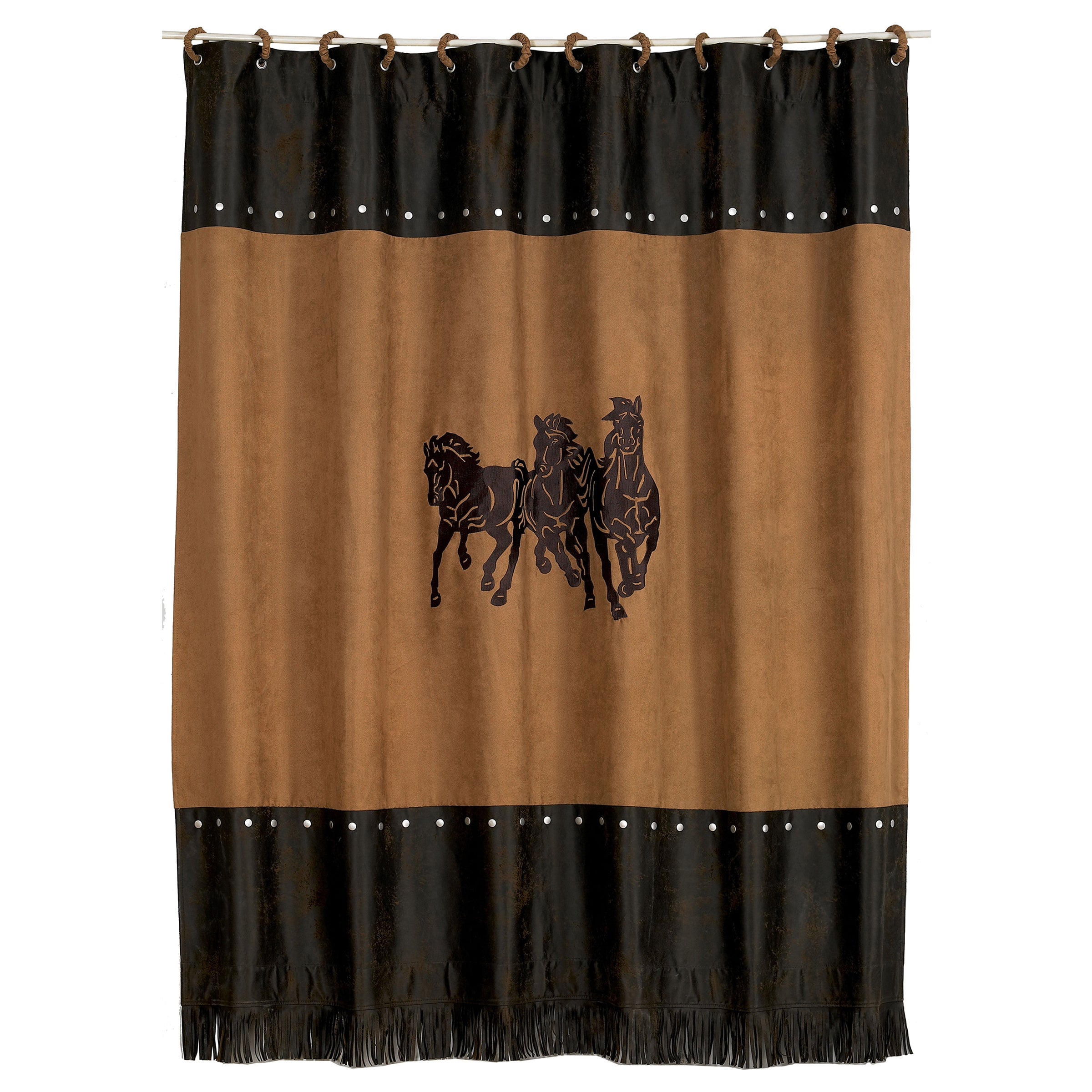 HiEnd Accents Embroidered 3-Horse Shower Curtain (Three h...