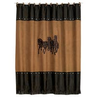 HiEnd Accents Embroidered 3-Horse Shower Curtain