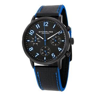 Stuhrling Original Men's Quartz Monaco Leather Strap Watch