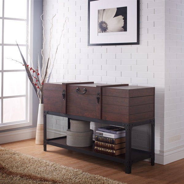 Furniture of America Forr Industrial Walnut Trunk-style Entryway Table. Opens flyout.