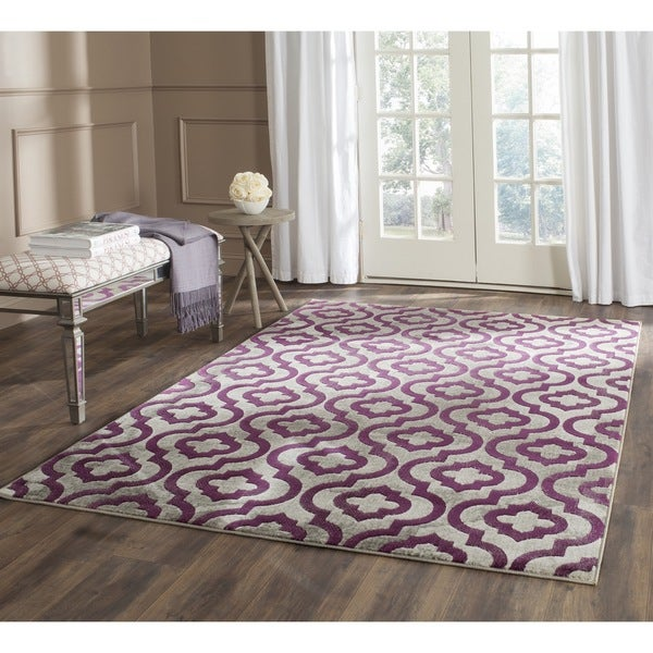 Safavieh Porcello Contemporary Moroccan Light Grey Purple Rug 3 X27