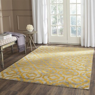 Safavieh Porcello Contemporary Moroccan Light Grey/ Yellow Rug (3' x 5')