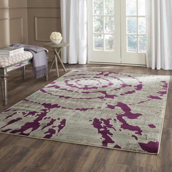 Safavieh porcello abstract dreamcatcher light grey purple for Light purple carpet