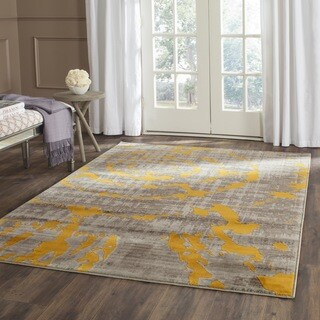 Safavieh Porcello Abstract Contemporary Light Grey/ Yellow Rug (3' x 5')