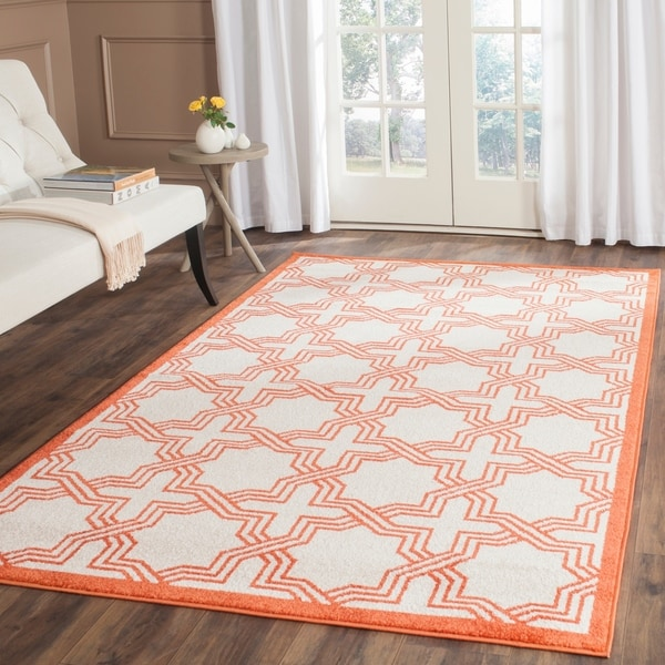 Safavieh Indoor/ Outdoor Amherst Ivory/ Orange Rug - 9' x 12'