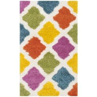 Safavieh Kids Shag Ivory/ Multi Rainbow Geometric Rug (3' x 5')