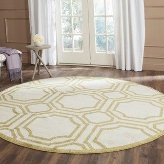 Safavieh Indoor/ Outdoor Amherst Ivory/ Light Green Rug - 7' x 7' Round