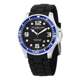 Stuhrling Original Men's Swiss Quartz Aquadiver Rubber Strap Watch